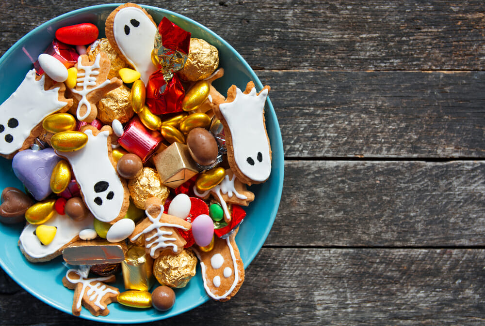 Halloween candy in a bowl